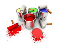 Roll painters, color cans and splashing. 3D render of roll painters, color cans and splashing Stock Photography
