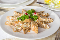 Roll pancakes with meat Stock Image