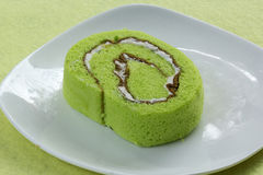 Roll pandan flavored cake Stock Image