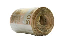 Roll of Paper Euros Royalty Free Stock Images