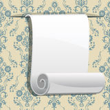 Roll of paper on seamless wallpaper Royalty Free Stock Images