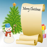 Roll of paper with snowman and Christmas tree Stock Photos