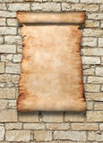Roll Of Parchment on Wall Stock Images