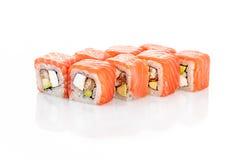 Roll Philadelphia, eel, salmon, cream cheese, avocado Stock Photo