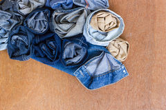 Roll pieces jeans. Royalty Free Stock Image