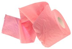 The roll of pink toilet paper Stock Photo