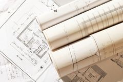Roll of plans. Plans for house construction Stock Photo