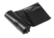 Roll of plastic garbage bags isolated on white Royalty Free Stock Image