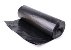 Roll of plastic garbage bags  on white Stock Image