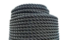 Roll plastic rope. Thick black rope. stock photo