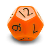 Roll Playing Dice. Orange Polyhedral Roll Player Dice Isolated on a White Background Stock Photo