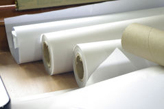 Roll of plotter paper for printing. Roll of architect and engineer plotter paper stock image