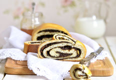 Roll with poppy seed. Royalty Free Stock Images