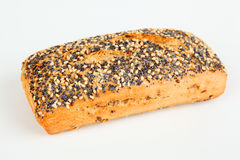Roll with poppy and sesame seeds. One roll with poppy and sesame seeds Royalty Free Stock Photos