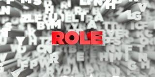 ROLL - Röd text på typografibakgrund - 3D framförde fri materielbild för royalty Royaltyfri Bild