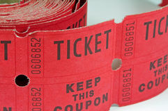 Roll of Raffle Tickets. Image of a roll of raffle tickets on white Stock Image