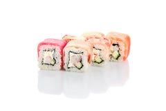 Roll rainbow, salmon, eel, shrimp, octopus, squid, tuna Royalty Free Stock Image
