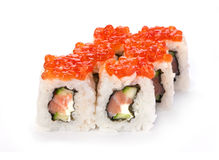 Roll with red caviar Royalty Free Stock Photography