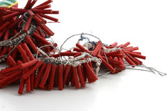 Roll of red firecrackers. A large roll of red firecrackers or fireworks Royalty Free Stock Photos