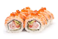 Roll with red fish and caviar Royalty Free Stock Image