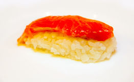 Roll with red fish Stock Image