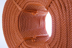 Roll of red polyester rope Stock Photo