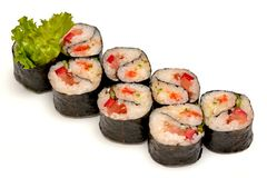 Roll rice Nori fish green salad soy sauce Chinese isolate stock photos