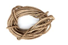 Roll of rope, rope knot isolated on white background royalty free stock photo