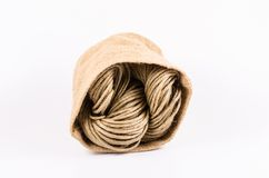 Roll of rope texture,burlap isolated on white background Stock Image