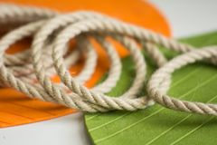 Roll of rough rope on the background royalty free stock photo
