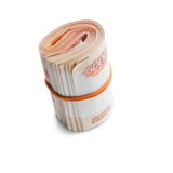 Roll of Russian money with rubber band Stock Photos