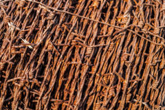 Roll rusty barbed wire Stock Photo