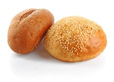 Roll and rye loaf Royalty Free Stock Images