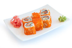 Roll with salmon Stock Photography