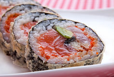 Roll with salmon Royalty Free Stock Photography