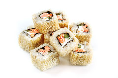 Roll with salmon, cucumber and sesame. Royalty Free Stock Photos