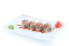 Roll with salmon and eel Royalty Free Stock Photos