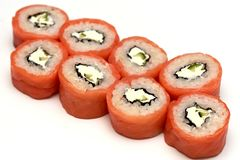 Roll salmon rice Nori fish Chinese isolate royalty free stock photography