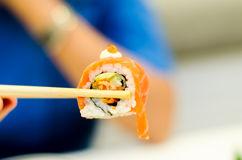 Roll salmon Sushi, Japanese food menu Royalty Free Stock Photos