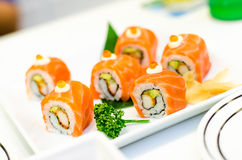 Roll salmon Sushi, Japanese food menu Stock Images