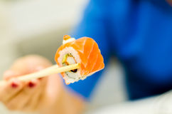 Roll salmon Sushi, Japanese food menu Stock Photos