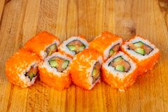 Roll with salmon Royalty Free Stock Photo