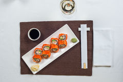 Roll are served on the table with Royalty Free Stock Images