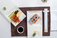 Roll are served on the table with Royalty Free Stock Photo