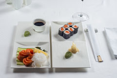 Roll are served on the table with Royalty Free Stock Image