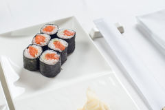 Roll are served on the table with Royalty Free Stock Photos