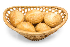 Roll with sesame in basket Stock Photo