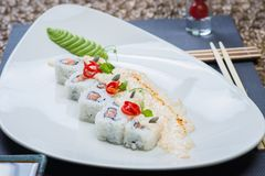 Roll set served on a plate Stock Photo