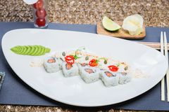 Roll set served on a plate Royalty Free Stock Photography