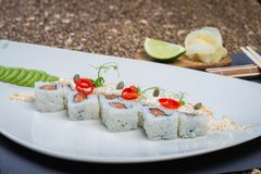 Roll set served on a plate Stock Photos